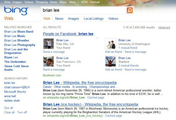 Social Search Results -Facebook Friends Bing