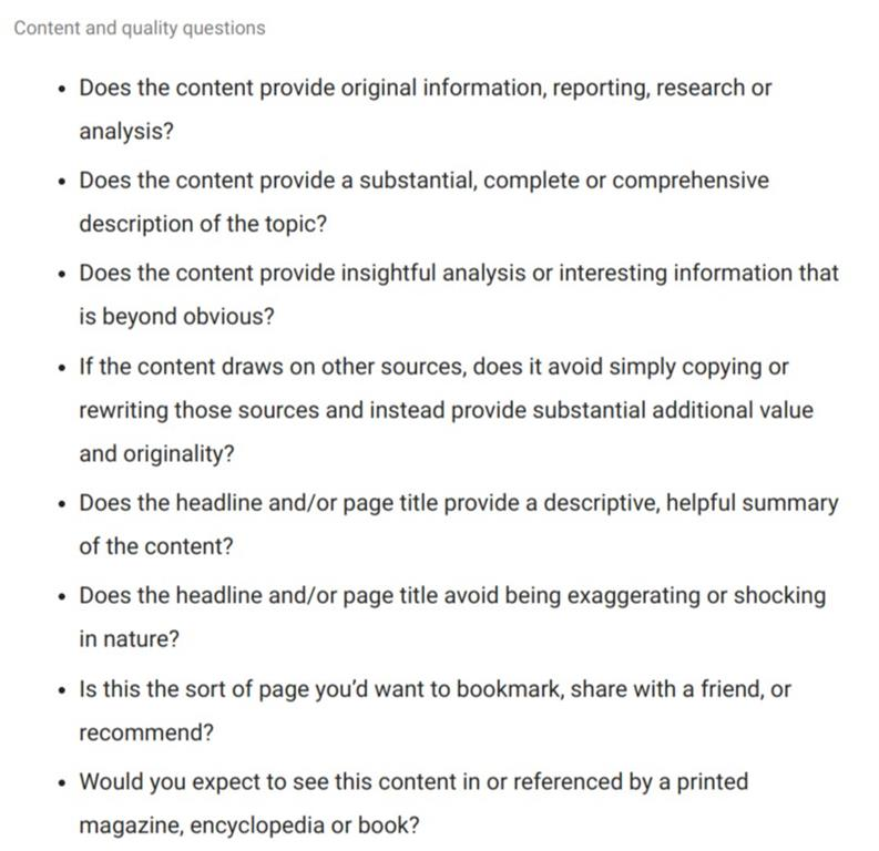 content quality questions list from Google