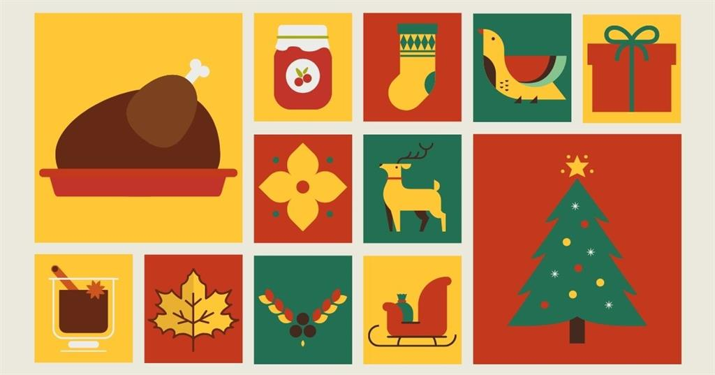 Blog graphic with Thanksgiving and Christmas illustrations by Sales & Marketing Technologies