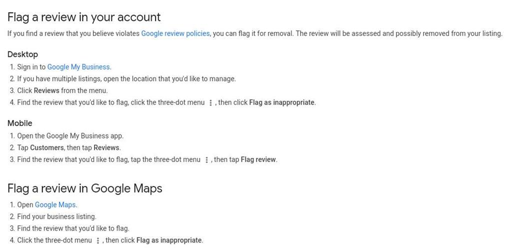 flag a review methods google business listing