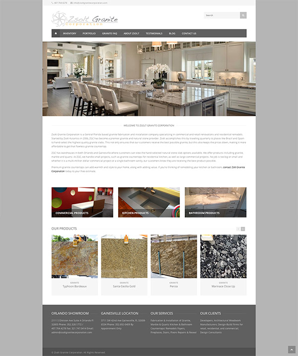 Showcase Orlando Web Design For Award Winning Granite Company